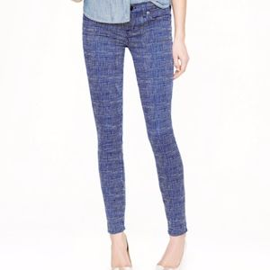J.Crew Toothpick Ankle Pants Basket Weave Print